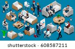 people isometric 3d  the big... | Shutterstock . vector #608587211