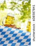 glass of beer in sunny beer...   Shutterstock . vector #608587841