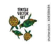turtle illustration vector set. | Shutterstock .eps vector #608588684
