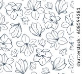 Graphic magnolia flowers and buds. Vector spring seamless pattern. Coloring book page design.