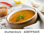 healthy vegetarian lentil soup... | Shutterstock . vector #608595605