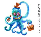 cute blue business octopus... | Shutterstock . vector #608596529