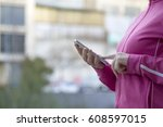 woman with mobile phone making... | Shutterstock . vector #608597015