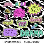 set of fashion patches or... | Shutterstock .eps vector #608601089