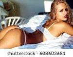 fashion portrait of beautiful...   Shutterstock . vector #608603681