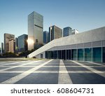 empty brick road nearby office... | Shutterstock . vector #608604731