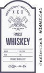 vintage whiskey label design... | Shutterstock .eps vector #608605565
