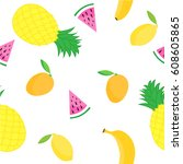 tropical seamless pattern with... | Shutterstock .eps vector #608605865
