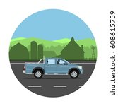 pickup truck on the village... | Shutterstock .eps vector #608615759