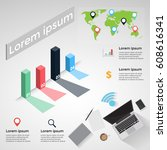 vector illustration infographic ... | Shutterstock .eps vector #608616341