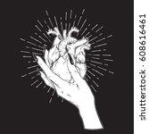 human heart in graceful female... | Shutterstock .eps vector #608616461