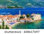 budva  montenegro. panoramic... | Shutterstock . vector #608617697