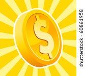 a gold dollar coin on bursting... | Shutterstock .eps vector #60861958