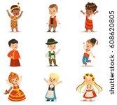 kids wearing national costumes...   Shutterstock .eps vector #608620805