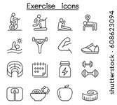 exercise icon set in thin line... | Shutterstock .eps vector #608623094