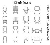 chair   furniture icon set in... | Shutterstock .eps vector #608623481