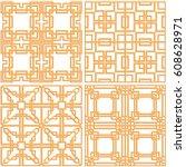 laser cutting set. woodcut... | Shutterstock .eps vector #608628971
