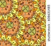 colorful doodle seamless of... | Shutterstock .eps vector #608631485