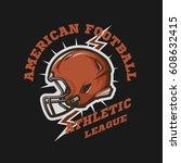american football helmet emblem....   Shutterstock .eps vector #608632415