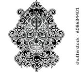 gothic coat of arms with skull  ... | Shutterstock .eps vector #608634401
