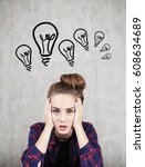 portrait of a stressed out... | Shutterstock . vector #608634689