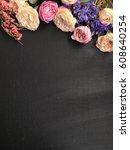 rustic spring chalkboard....   Shutterstock . vector #608640254