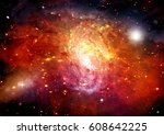 stars of a planet and galaxy in ... | Shutterstock . vector #608642225