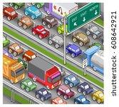 massive traffic jam on highway  ... | Shutterstock .eps vector #608642921