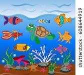 background with marine life ... | Shutterstock .eps vector #608644919
