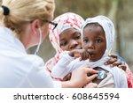 female caucasian doctor... | Shutterstock . vector #608645594