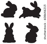 easter silhouettes of cartoon... | Shutterstock .eps vector #608646215