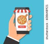 online mobile pizza ordering... | Shutterstock .eps vector #608648921