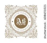 monogram template with... | Shutterstock .eps vector #608651021