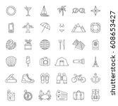 set of minimalistic traveling... | Shutterstock .eps vector #608653427
