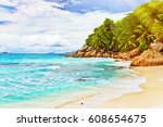 tropical beach. the seychelles. ... | Shutterstock . vector #608654675