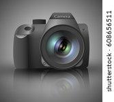 realistic slr digital camera... | Shutterstock .eps vector #608656511