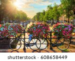 beautiful summer sunrise on the ... | Shutterstock . vector #608658449