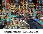 souvenirs offered on a market ...   Shutterstock . vector #608659925