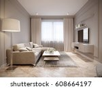 modern beige gray living room... | Shutterstock . vector #608664197