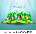 happy easter greeting... | Shutterstock .eps vector #608664701
