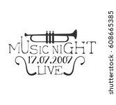 live music night concert black... | Shutterstock .eps vector #608665385