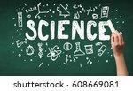 a teacher writing science ... | Shutterstock . vector #608669081