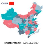 china map and flag   highly... | Shutterstock .eps vector #608669657
