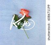 rose flower on a fabric... | Shutterstock . vector #608671199