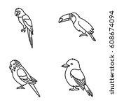 birds vector icons   Shutterstock .eps vector #608674094