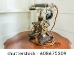 antique telephone vintage style | Shutterstock . vector #608675309
