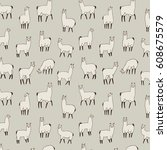 lama animal vector pattern | Shutterstock .eps vector #608675579