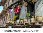 typical nepalese building with... | Shutterstock . vector #608677649