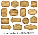 wooden stickers  label... | Shutterstock .eps vector #608680775