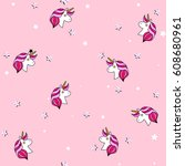 seamless pattern with unicorn ... | Shutterstock .eps vector #608680961